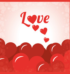 love lettering red hearts decoration card vector image vector image