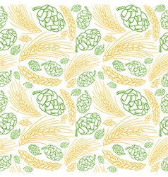 Malt and cone hop seamless pattern vector