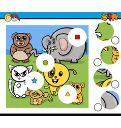 match pieces game with animals vector image vector image