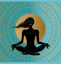meditation silhouette young woman vector image vector image