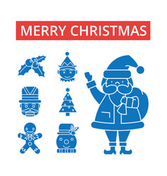 merry christmas thin line icons vector image vector image