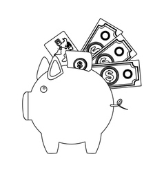 Monochrome contour with moneybox in shape of pig vector