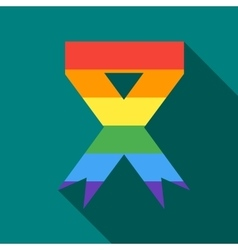 Rainbow ribbon icon in flat style vector