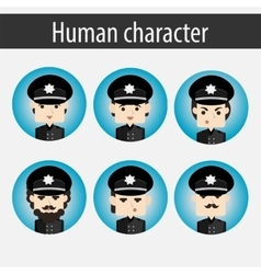 Set men european character police officer vector