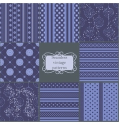 Set of blue vintage patterns vector image vector image