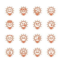 Set of emoji lightbulb emoticons vector image vector image
