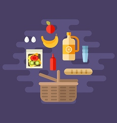Shopping and cooking concept basket with food flat vector