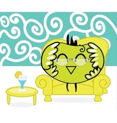 Smart bird of Happiness rests in the armchair at vector image vector image