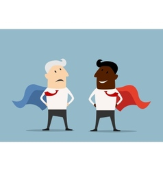 Superhero businessmen standing facing each other vector image