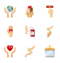 World donor day icons set cartoon style vector