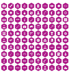 100 antiterrorism icons hexagon violet vector