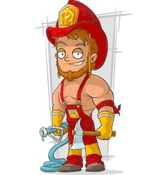 Cartoon fireman with axe in red vector