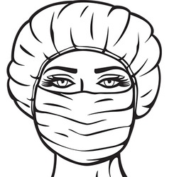 Woman in a surgical mask vector