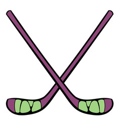 hockey sticks icon icon cartoon vector image