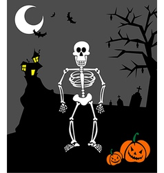 Halloween pumpkins and skeleton scary background vector