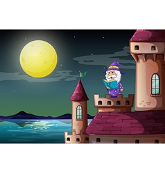 A castle port with a wizard reading a book vector image