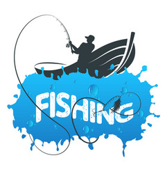fisherman in a boat vector image