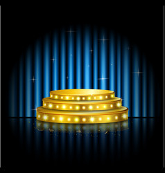 Spotlight golden of empty stage with blue curtain vector