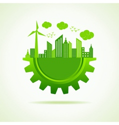 Eco a cityscape with gear vector