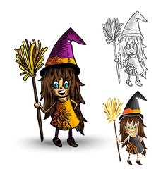 Halloween monsters spooky isolated witches set vector