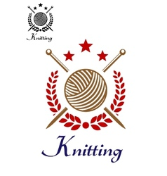 Hand knitting emblem vector