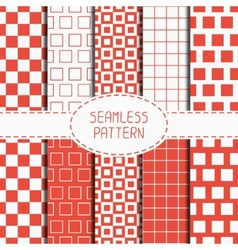 Set of geometric red seamless pattern with squares vector