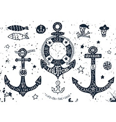 Set of hand drawn anchors vector