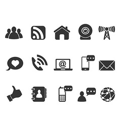 black internet communication icons set vector image
