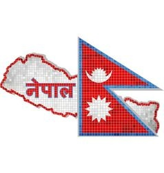 Nepal map with flag inside vector