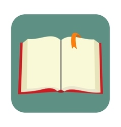 Opened blank book with bookmark flat icon vector