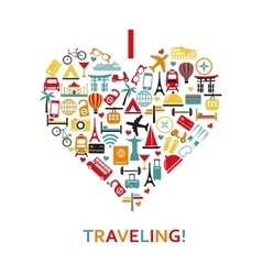 Heart from travel icons vector