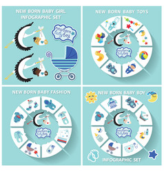 New born baby boy circle infographic set vector
