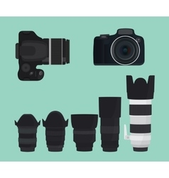 Slr dslr camera collection with lens vector