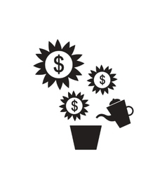 Flat icon in black and white Money Tree vector image