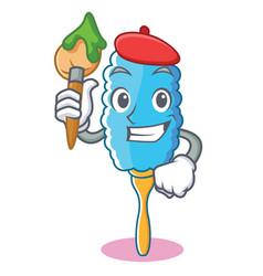 Artist feather duster character cartoon vector