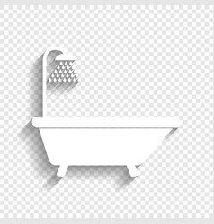Bathtub sign white icon with soft shadow vector
