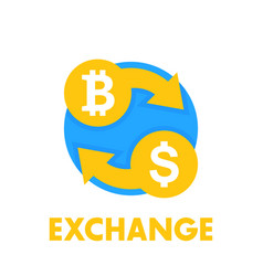 bitcoin exchange icon over white vector image vector image