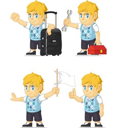 Blonde rich boy customizable mascot 8 vector