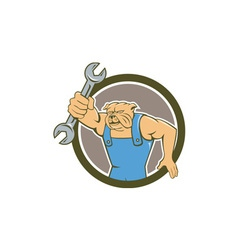 Bulldog Mechanic Holding Spanner Circle Cartoon vector image vector image