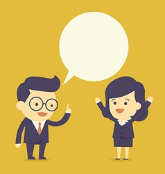 Business people talk with bubble speech vector image vector image