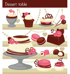 candy bar or dessert buffet table vector image vector image