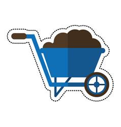 Cartoon wheelbarrow garden earth image vector