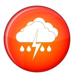 Cloud with lightning and rain icon flat style vector