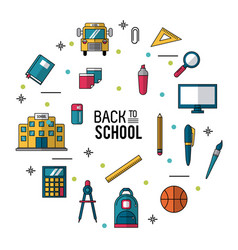 Color poster of back to school with essential vector