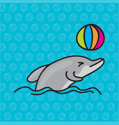 dolphins playing ball vector image vector image