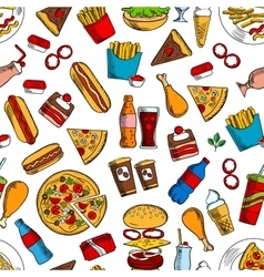 Fast food snacks and beverages seamless background vector