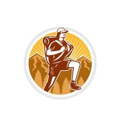 Female hiker hiking mountain circle retro vector