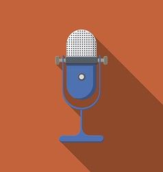 Flat design microphone icon with long shadow vector image vector image