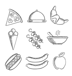 Food icons set in sketch style vector