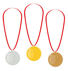 Gold silver or bronze medals reward for victory vector